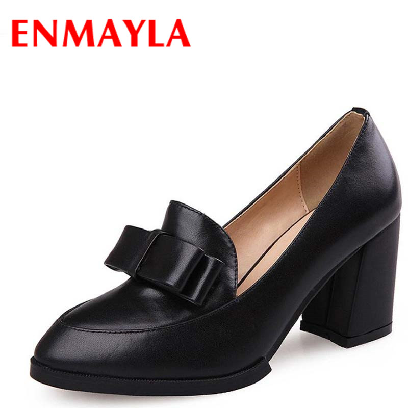 ENMAYLA Thick Heels Pointed Toe Shoes Nice Bowtie Casual Sweet Ladies Shoes Woman High Heels Pumps Slip-On Black Red Women Pumps sweet women high quality bowtie pointed toe flock flat shoes women casual summer ladies slip on casual zapatos mujer bt123