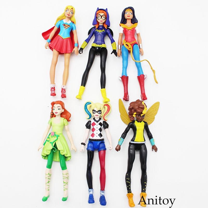 DC Comics Supergirl Batgirl чудо Для женщин Харли Квинн Ядовитый плющ ПВХ фигурку Коллекционная модель игрушки 15 см 6 шт./компл. KT3609