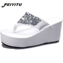 440d076592120f Feiyitu 2018 Summer tide flat slope with the new female slippers with  anti-skid slippers Thongs muffin Rhinestone sandals