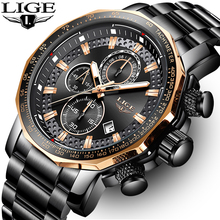 LIGE New Fashion Mens Watches Top Luxury Brand Military Big Dial Male Clock Analog Quartz Watch Men Sport Chronograph watch 2019 curren top brand men fashion chronograph quartz watches men s leather military sport wrist watch male 24 hours date analog clock