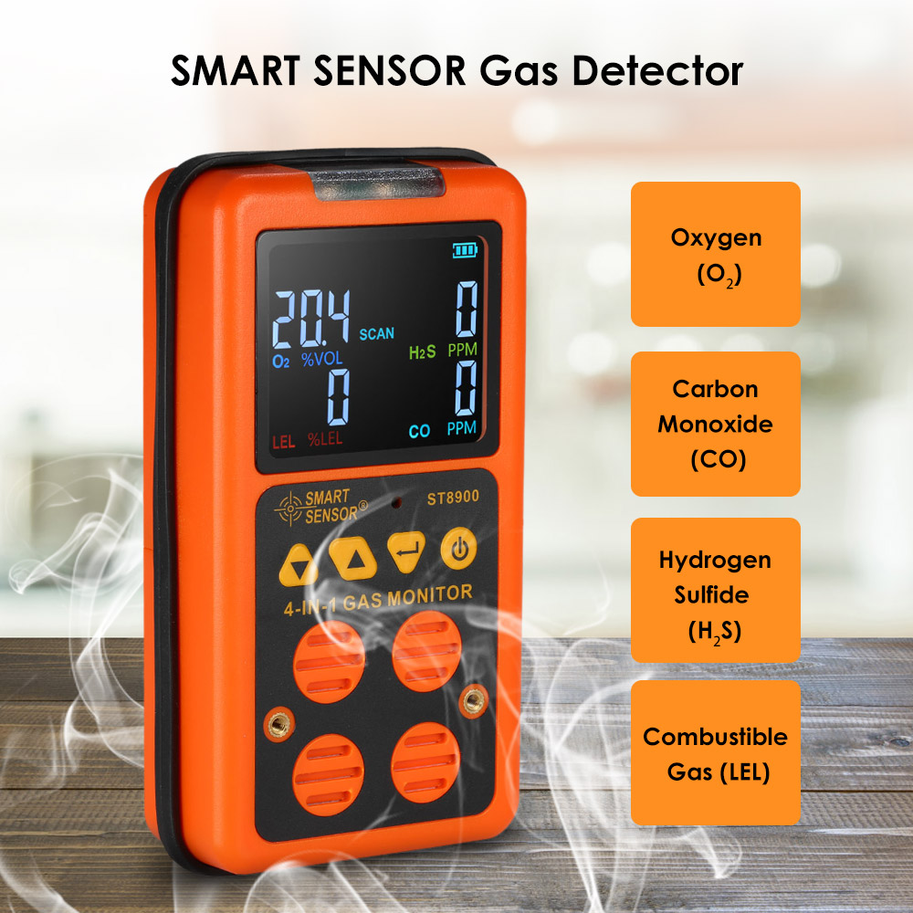 4 in 1 Gas Detector H2S CO Monitor Industrial Digital Handheld Toxic Carbon Monoxide Carbonic Oxide Hydrogen Sulfide Gas Tester