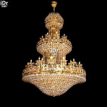 Chandeliers Polished gold crystal lamps 114 large hotel lobby lamp light 145cm W x 210cm H Large lighting