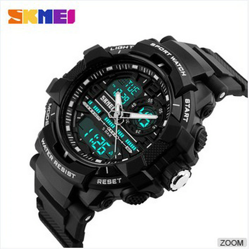 skmei digital watch high quality dual time watch men blue analog sports wristwatch