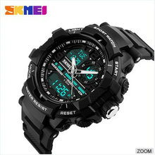 skmei digital watch high quality dual time watch men blue analog sports wristwatch