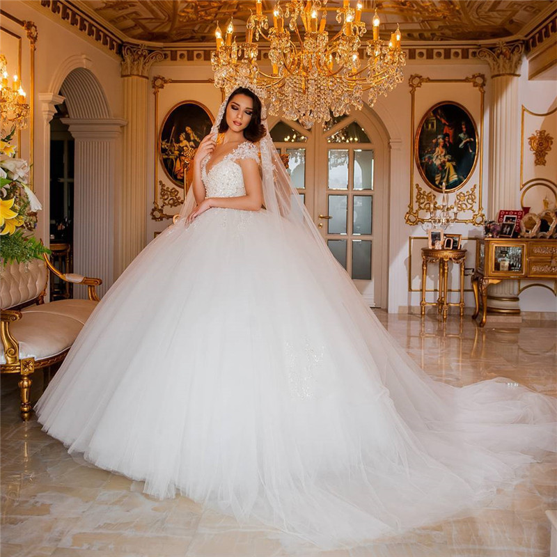 Newest 2017 Ball Gown White Wedding Dress Bridal Gown Wedding Modern