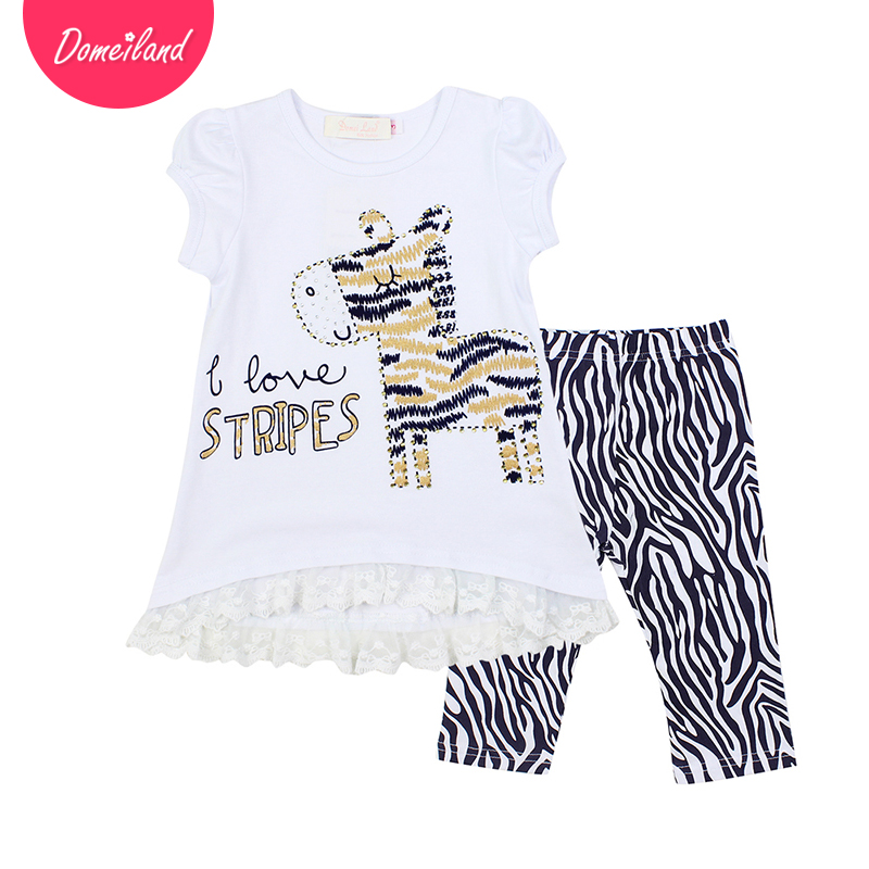 2017 fashion brand domeiland summer kids clothes outfits baby girl cotton short sleeved zebra lace shirts legging set clothing