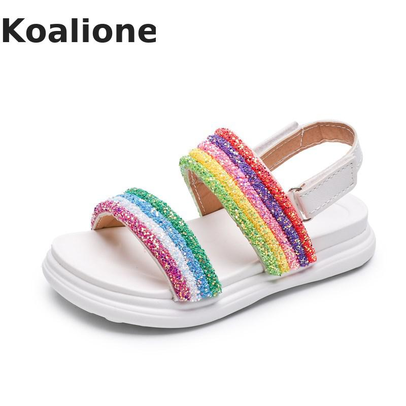 Girls Sandals Kids Shoes Summer Children's Fashion Rainbow Colorful Sandals Pupils Non-slip Beach Shoes Girls Slippers Outdoor