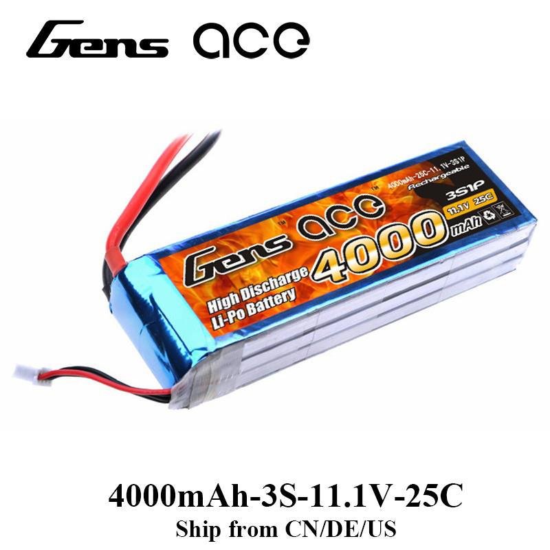 где купить Gens ace Lipo Battery 11.1V 4000mAh Lipo 3S Battery Pack 25C T Connector Batteries for Graupner RC Car FPV Drone Boad дешево