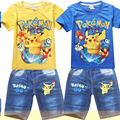2016 summer style Boys T-shirts pokemon go T-shirt short sleeve cartoon t shirt kids clothes boys brand clothes sets