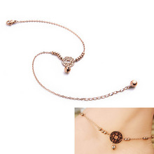 Fashion Women Anklet Bracelet Delicate Small Bell Coin Titanium Steel Beach Chains Girl Sexy Barefoot Foot Chain Jewelry KQS8
