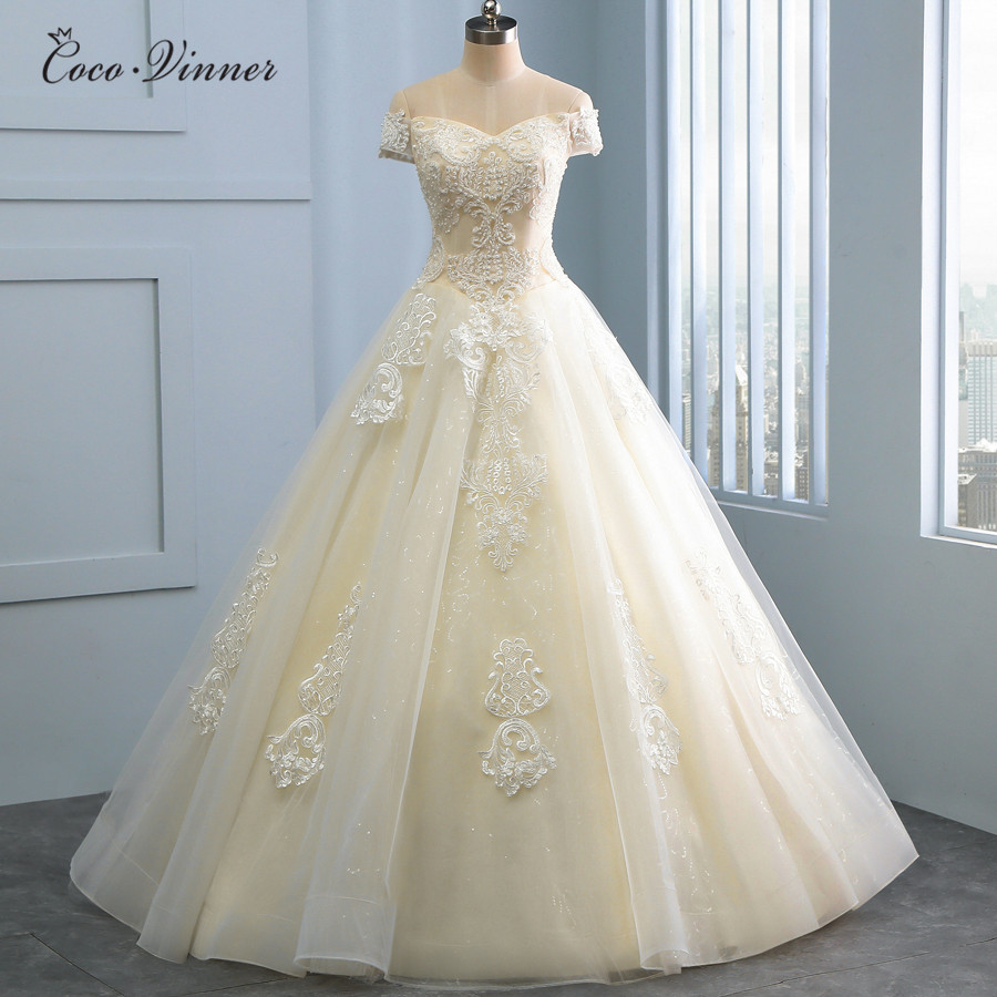 Short Sleeve Off Shoulder Arab Ball Gown Wedding Dresses 2019 White Champagne Color Embroidery Appliques Wedding Dress WX0106