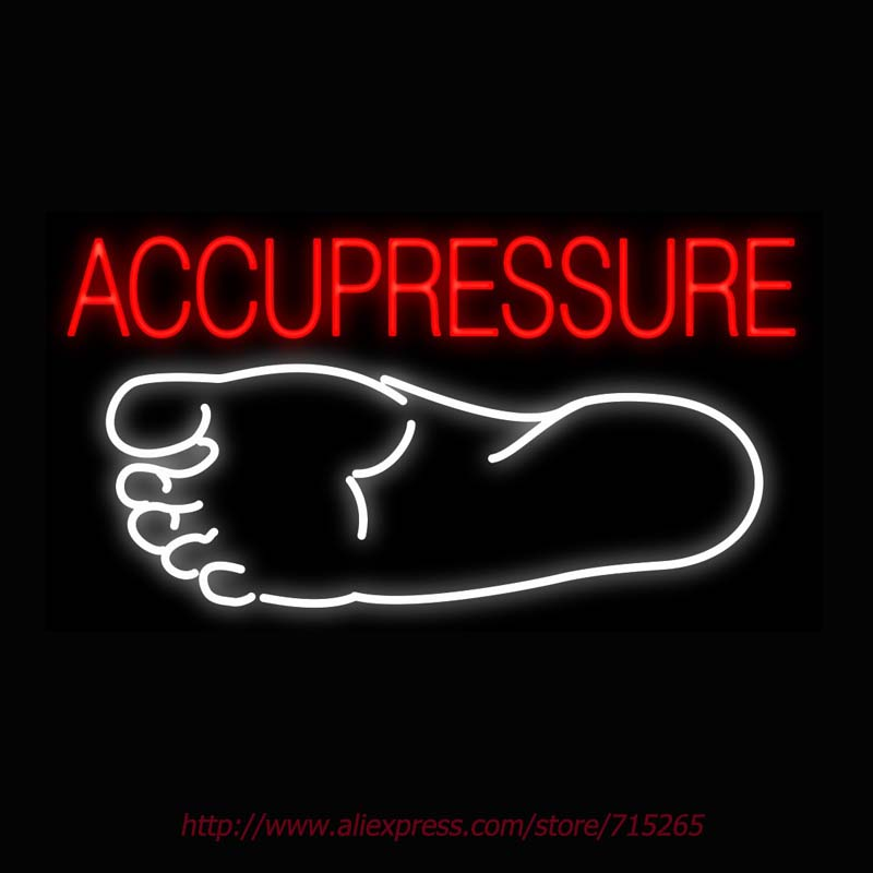 Neon Sign Acupressure Foot Real Glass Tube Handcrafted neon signs Custom Health Store Display ADVERTISE Art Free Design 37x20