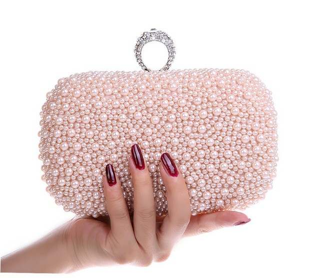 Hot Style Women's Beaded Handbag/ Bridal Duplex Full Pearl Diamond Ring Clutch Purse/ Chain Evening Bag Shoulder Messenger Bag
