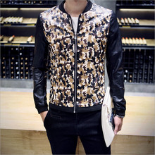 Cheap Men's 2016 fall clothing new arrival spell color camouflage leather jacket Korean Slim casual fashion models wild