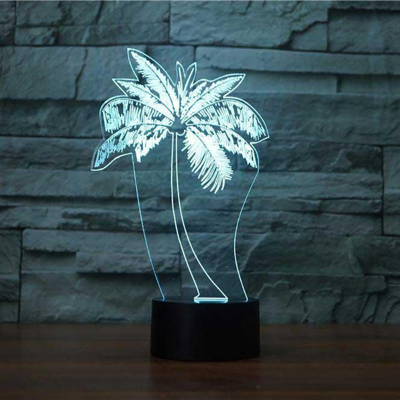 3D Led Usb Fashion Gifts Palm Tree Modelling Table Lamp Kid Bedroom Luminaria Night Light Decor Bedside Baby Sleep Light Fixture