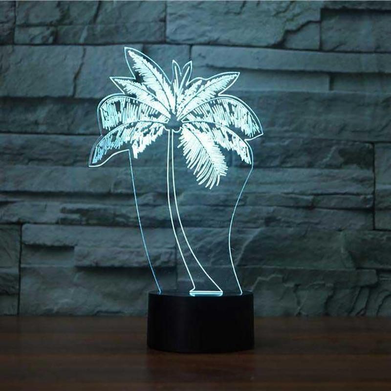 3D Led Usb Fashion Gifts Palm Tree Modelling Table Lamp Kid Bedroom Luminaria Night Light Decor Bedside Baby Sleep Light Fixture