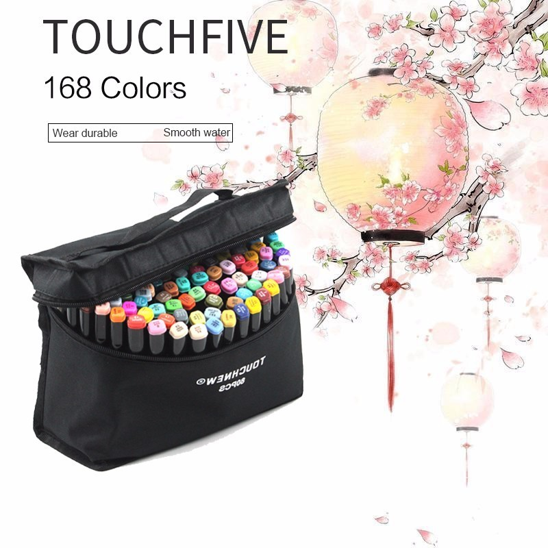 TOUCHNEW 80 Colors Art Markers Brush Pen Alcohol Based Markers Graffiti Fineliner Marker Set Manga design School Supplies 80 colors painting art marker pen alcohol marker pen cartoon graffiti dual headed sketch markers set art supplies black white