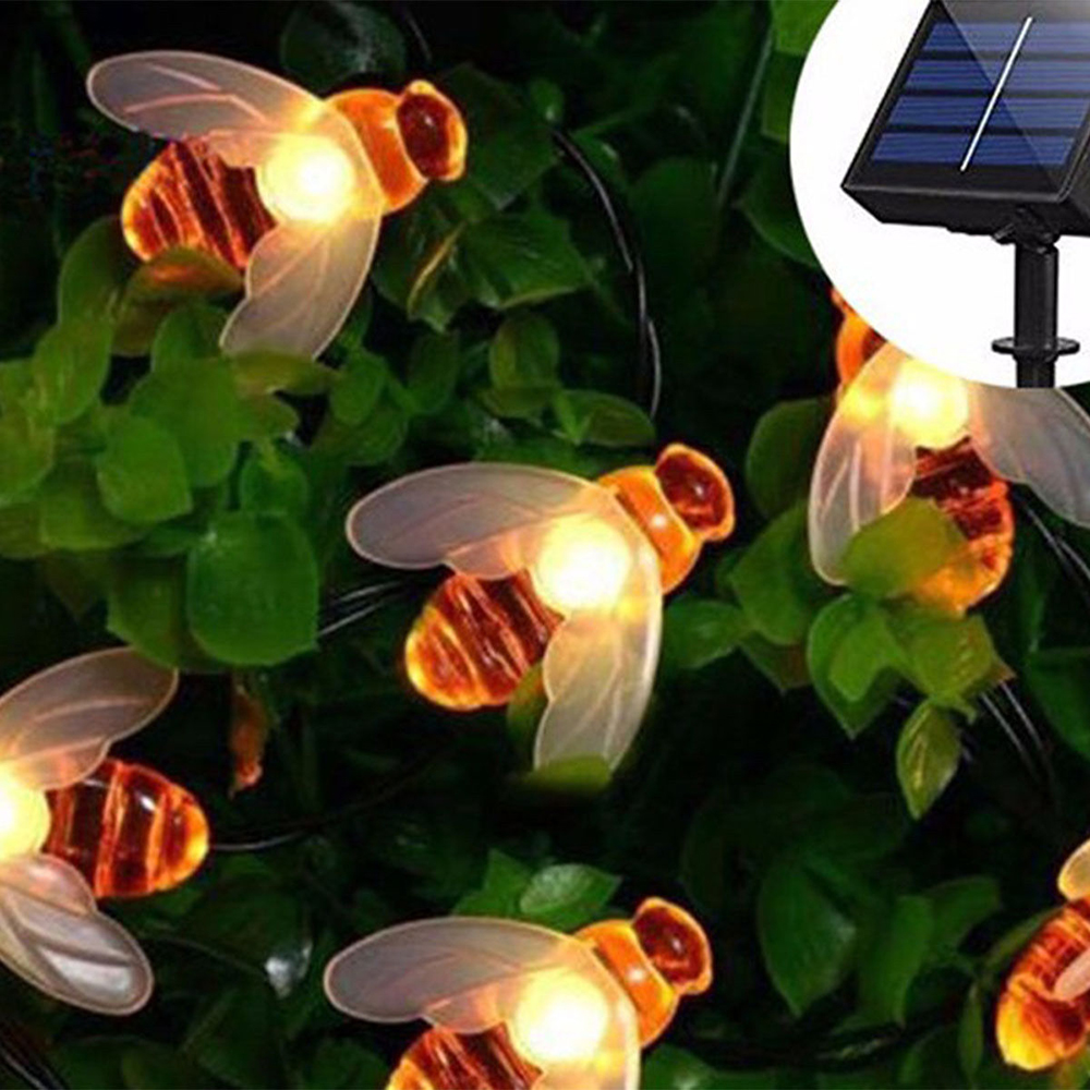 Solar Lights String 5M 20 Led Honey Bee Shape Solar Powered Fairy Lights For Christmas Holiday Party Garden Fence Decoration