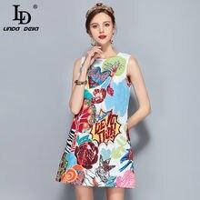 90613bbb9d0e LD LINDA DELLA Nuova Pista di Modo Del Progettista di Estate delle Donne  del Vestito Senza