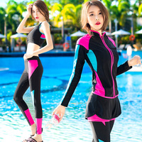 Four Piece Swimwear Female Long Sleeve Top And Trousers Off Shoulder Crop Tops Boxer Shorts Patchwork Black Tankini Diving Suit