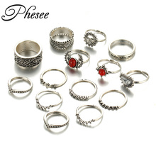 Phesee 2017 New 14pcs/Set Vintage Antique Silver Color Sun Midi Female Ring Sets for Women Red Big Stone Knuckle Rings Jewelry
