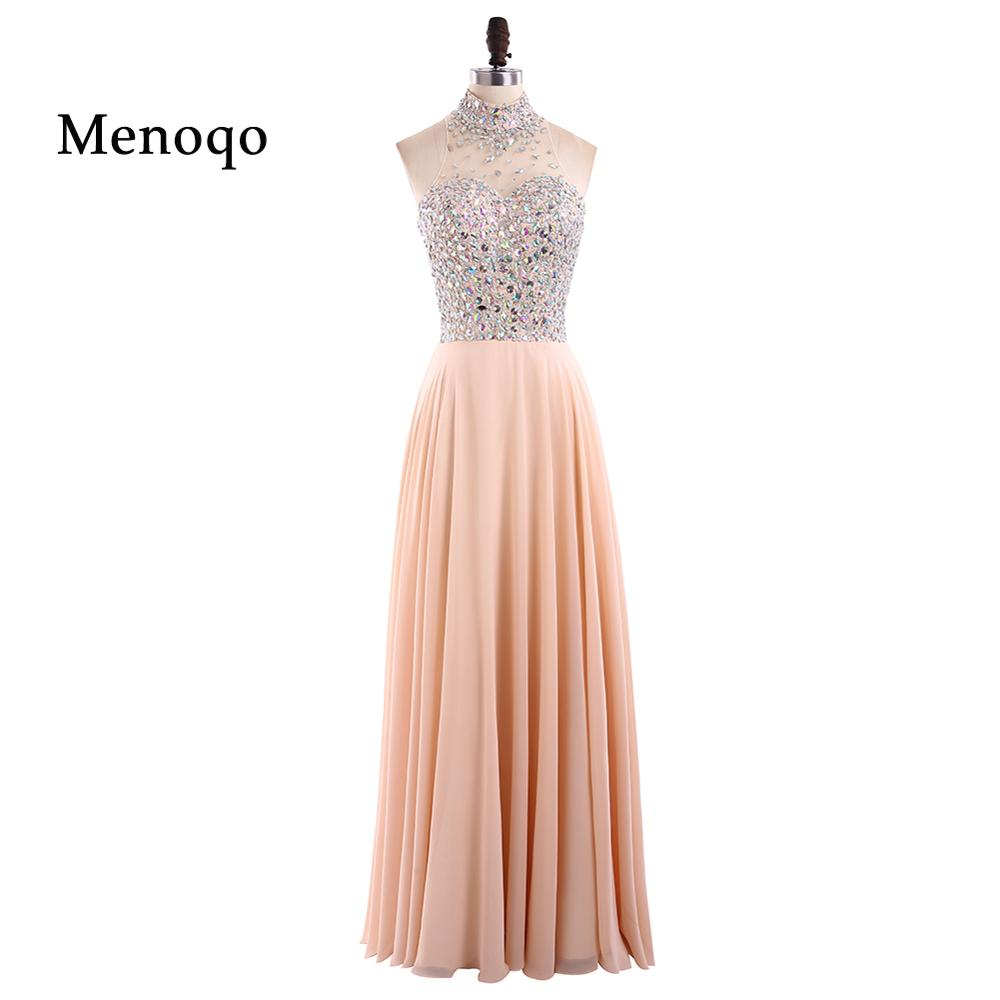 elegant luxury evening dresses 2018 high neck long crystal beaded ...