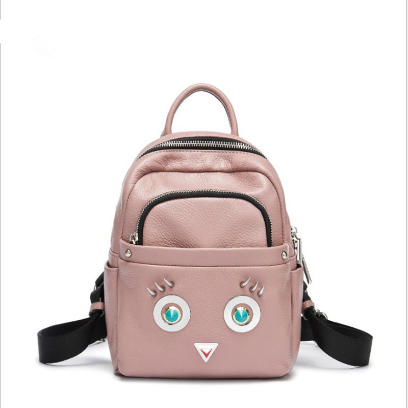 цена на New Women Backpack School Bags For Teenage Girls Genuine Cow Leathe Casual Cute Owl Bookbags Travel Bag Mochila Black FR652