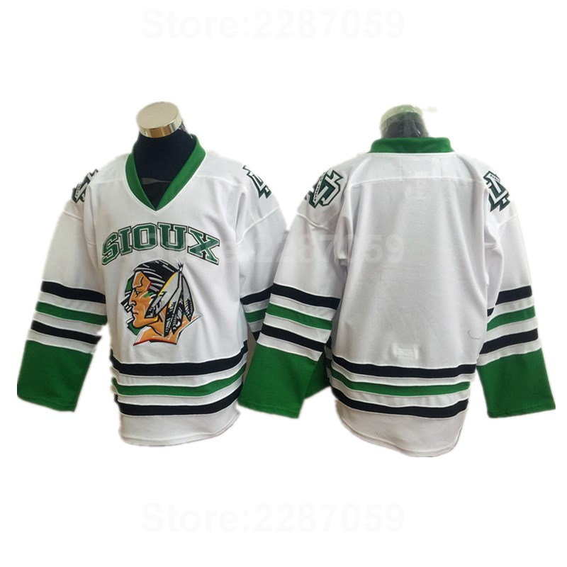 Dropwow Ediwallen North Dakota Fighting Sioux Blank College Ice Hockey  Jerseys Sale Men Green White Black Stitched Color Sports Quality 1cd886390