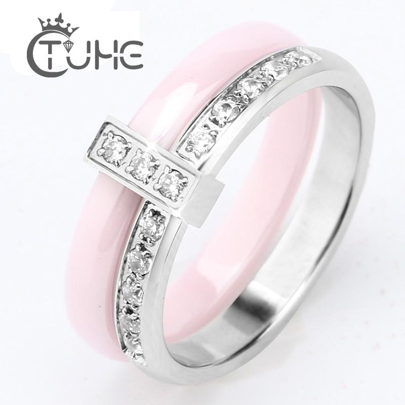 Frauen Ringe 6mm Rosa Keramik Ringe CZ Hochzeit Marke Garten Ring - Modeschmuck