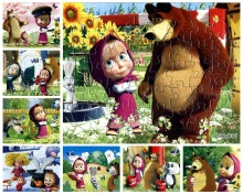 1PCS Puzzle Masha The Bear Puzzle Kids Toys 40 Pieces of Puzzle Cute Paper Cartoon Puzzle