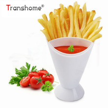 French Fries DIPPING CONE Cup Western Style Potato Cup Plastic Vegetable Salad Cup Creative Diagonal Salad Bowl Kitchen Tools