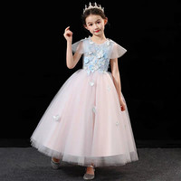 Children Kids Elegant Pink Color Birthday Wedding Party Fluffy Ball Gown Long Dress Girls Teenagers Communication Host Dress