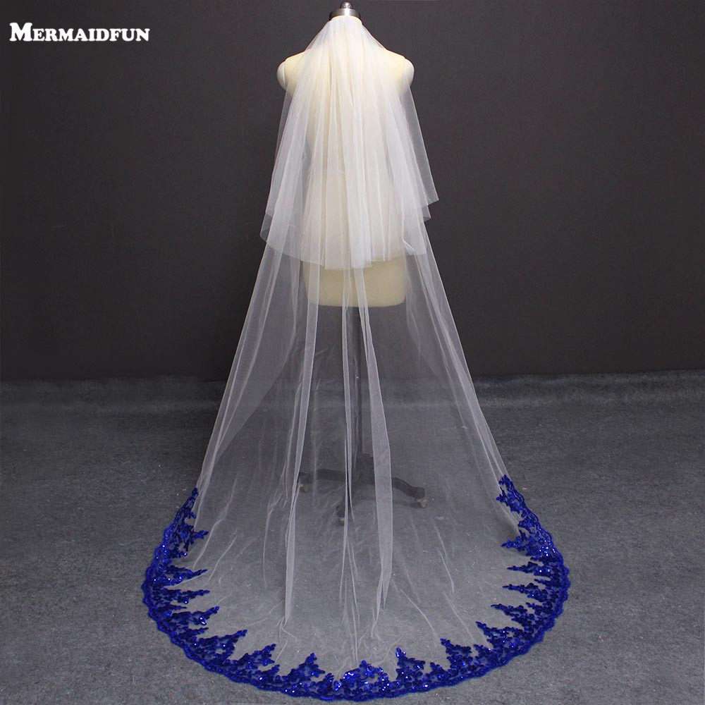 New Arrival Bling Sequins Royal Blue Lace White Ivory Tulle Wedding Veil 2 Layer with Blusher