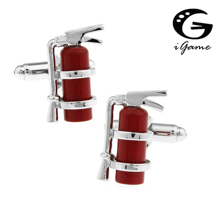 IGame Novelty Fire Extinguisher Cuff Links Red Color Copper Material Gift For Fireman Free Shipping