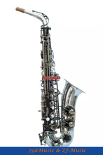 Alto Sax saxophone Natural abalone shell With Case Silver and Black Nickel