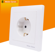 цена на Household Wall Power Socket Panel Outlet EU Standard Electrical Plug Socket Switch Grounded 16A 110~250V 86mm * 86mm White Panel