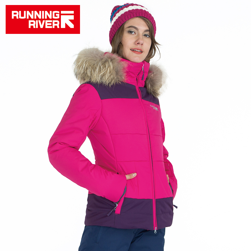 RUNNING RIVER Brand Women Winter Ski Hooded Jackets 4 Colors 5 Sizes Warm Outdoor Sports Jacket For Woman Sport Clothing #A6021 running river brand winter thermal women ski down jacket 5 colors 5 sizes high quality warm woman outdoor sports jackets a6012