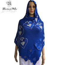 2016 New African scarf, Muslism embroidery women scarf with stones,Nice design soft material small Cotton scarf for women