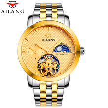 AILANG Classic Fashion Design Luxury Skeleton Tourbillon Mechanical Watch Military Waterproof Sports Mens Automatic Watches New
