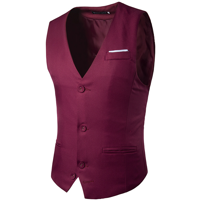 6ab56669e9b0 Fashion Men Dress Jacket Sleeveless Vest Coat Male Clothes Slim Fit Solid  Suit Groom Business Social Bar Wedding Waistcoat Z30-in Vests from Men s  Clothing ...