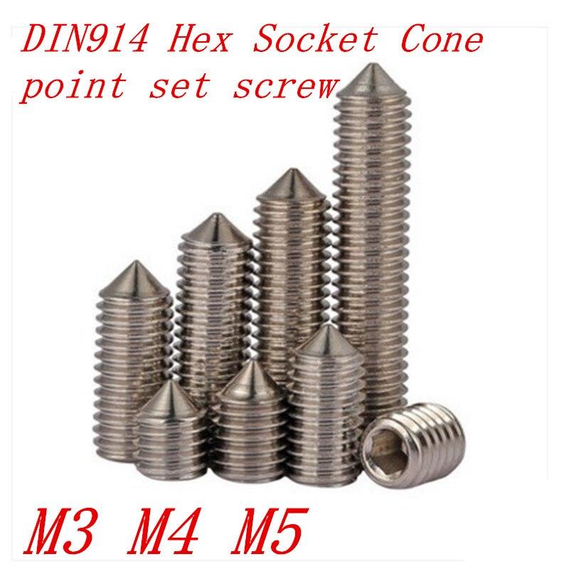 50pcs/Lot DIN914 M3 M4 M5 Stainless Steel Cone Point Grub Hex Socket Set Screws niko 50pcs chrome single coil pickup screws