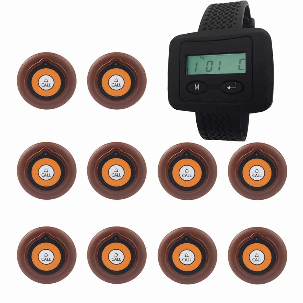 Wireless Pager Calling System 10pcs Transmitter Button+1 Receiver Host Calling System for Restaurant Equipment Coffee F3228A wireless pager system 433 92mhz wireless restaurant table buzzer with monitor and watch receiver 3 display 42 call button