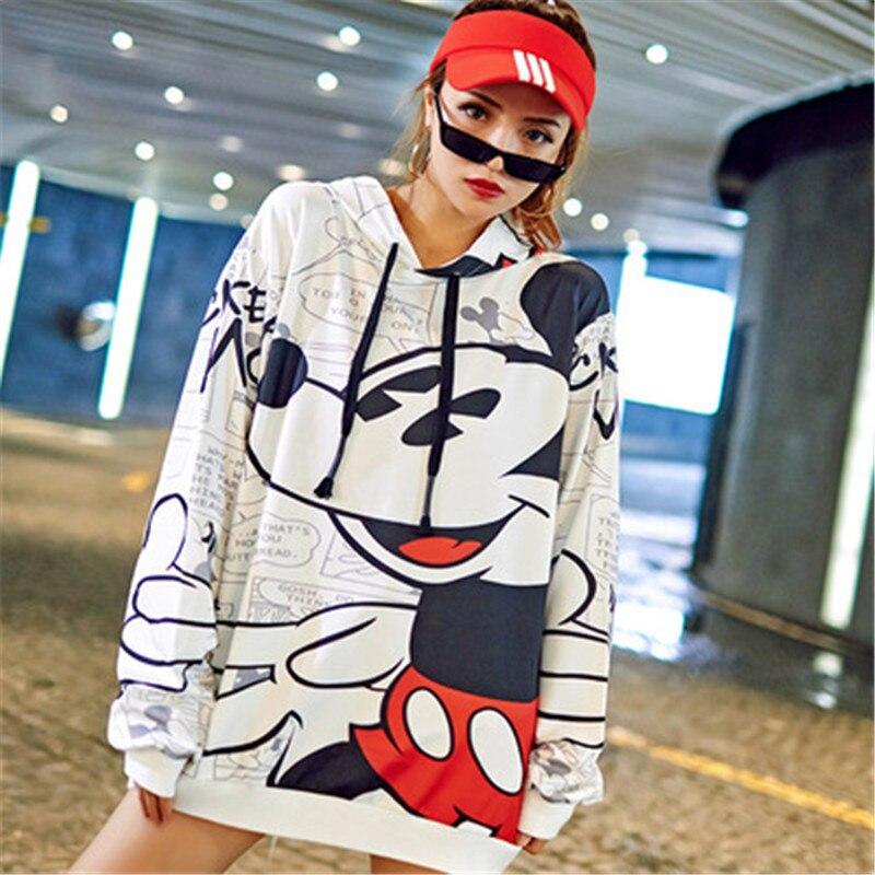 Fashion Women Sweatshirt Cartoon Mickey Printed Pullover For Female Oversized Loose Hoodies Streetwear Casual Women's Clothing