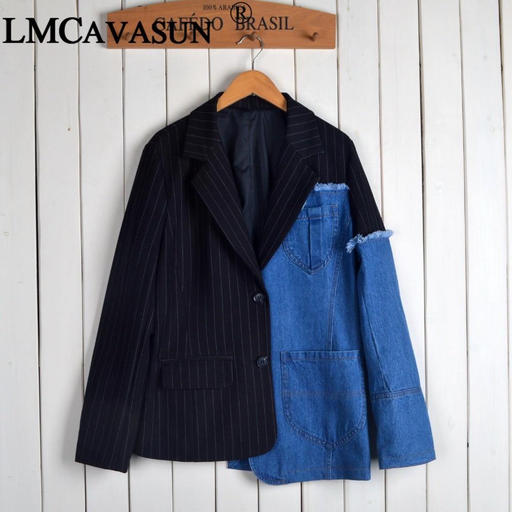 Blazer Pour Asymétrique Jeans Longues À Veste Denim Costume Rayé Manches Manteau Lmcavasun Femmes SfgqqI