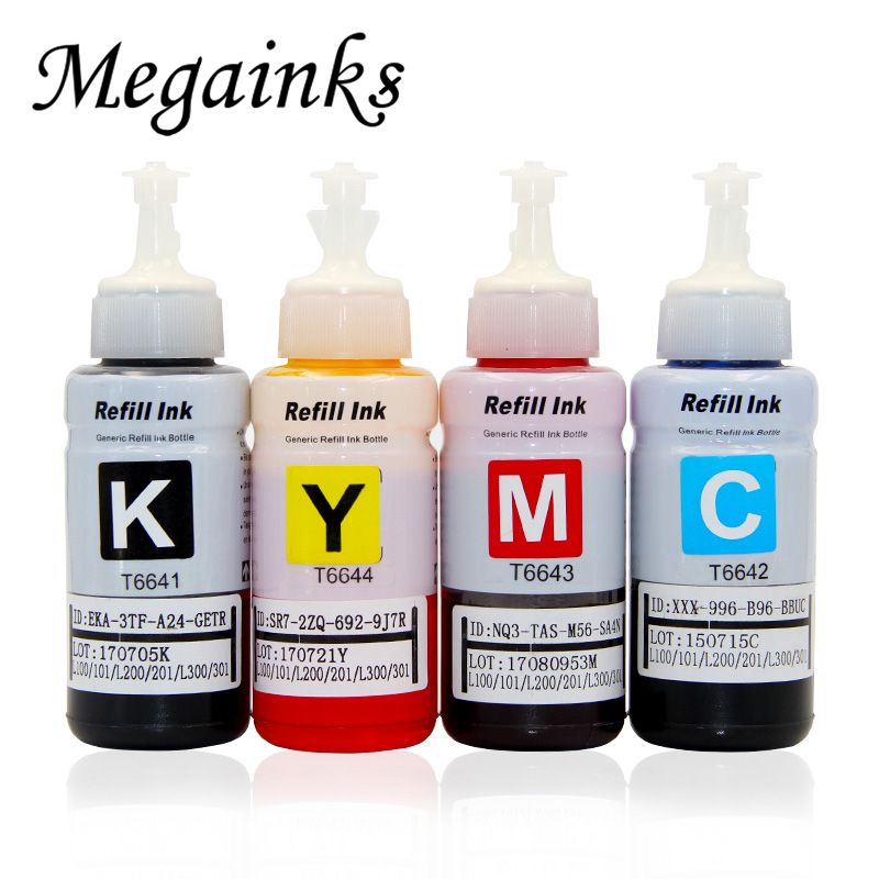 4 Color Dye Based Refill Ink Kit for <font><b>Epson</b></font> L100 L110 L120 L132 <font><b>L210</b></font> L222 L300 L312 L355 L350 L362 L366 L550 L555 L566 <font><b>printer</b></font> image