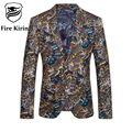 Fire Kirin Blazer Men 2017 Fancy Suits For Men Luxury Brand Tiger Pattern Casual Suit Jacket Fashion Printed Prom Blazers Q95