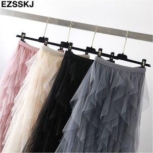 Image 3 - Elegante falda de malla irregular para mujer, nueva falda de pastel de tutú multicapa primavera otoño 2019, falda larga de tul esponjosa con volantes para mujer