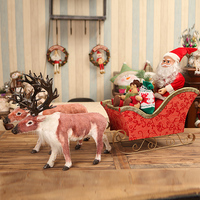Hot Selling Newest 2019 Saudis Christmas Mini Deer Cart Hotel Window Decoration Beauty Chen Scene Layout Sled Elk Decoration
