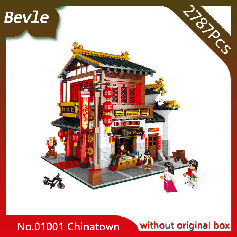 Bevle Store Bevle XINGBAO 01001 2787Pcs Street View series Chinatown silk warehouse Building Blocks set Bricks For Children Toys compatible lepin city mini street view building blocks chinatown satin silk store with saleman figures toys for children gift