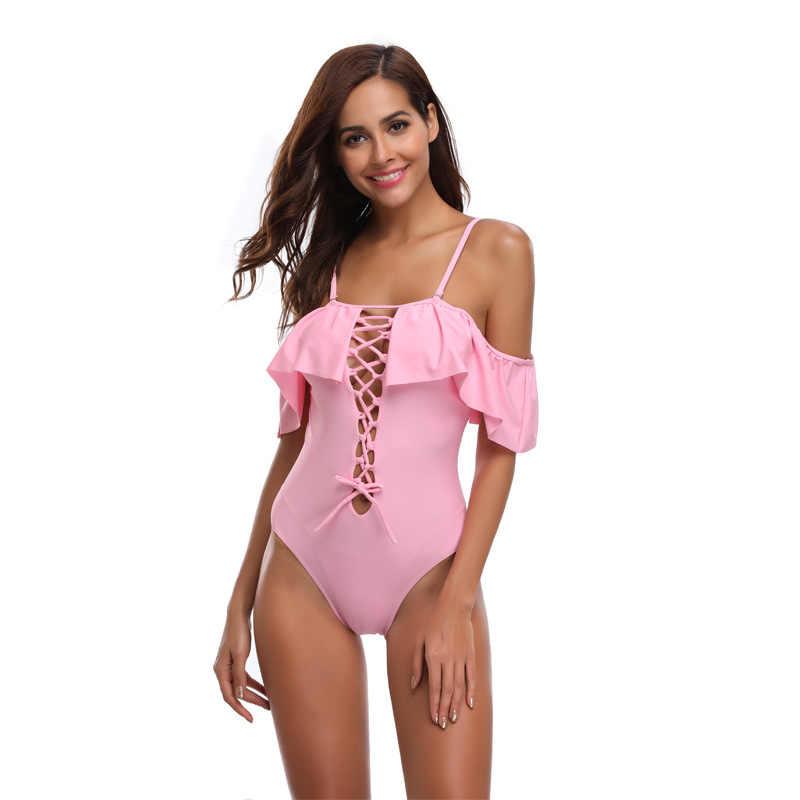 Seksowny strój kąpielowy kobiety stroje kąpielowe krzyż Halter Sling debugowania pasek na ramię bandaż potargane wysokiej elastyczna stałe różowy czarny biały nowy